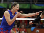 Serbia's Tijana Malesevic celebrates during a women's gold medal volleyball match against China at the 2016 Summer Olympics in Rio de Janeiro, Brazil, Saturday, Aug. 20, 2016. (AP Photo/Jeff Roberson)