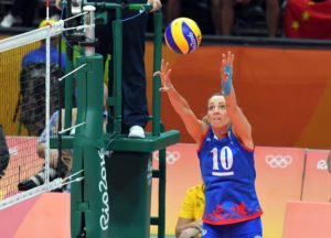 Maja Ognjenovic of Serbia sets