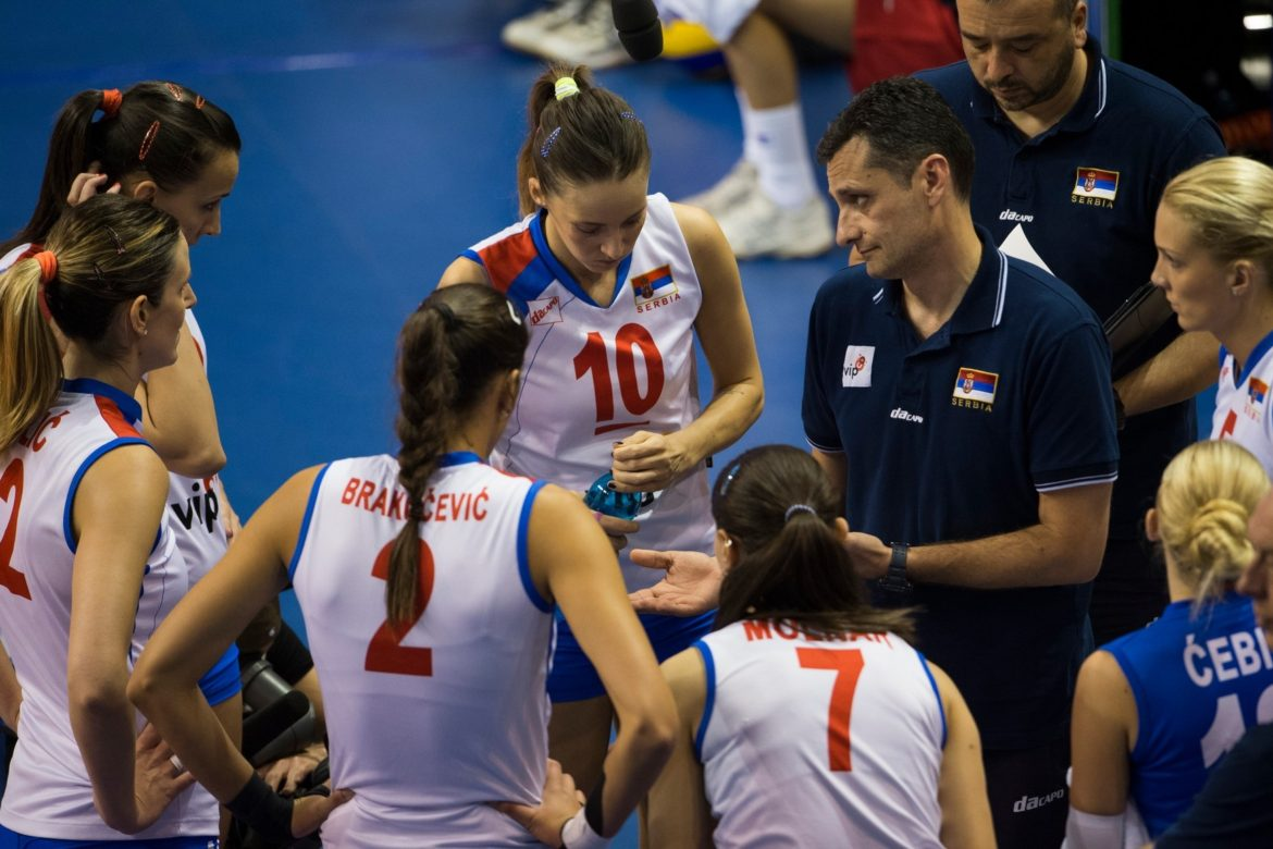 Image: 0171978469, License: Rights managed, Serbia's headcoach Zoran Terzic talks to team members during the UEFA European Women's Volleyball Championship semifinal match Serbia vs Russia in Berlin, Germany on September 13, 2013., Place: GERMANY, Model Release: No or not aplicable, Credit line: Profimedia.com, AFP