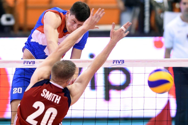 Serbia's Srecko Lisinac spikes hard against USA David Smith