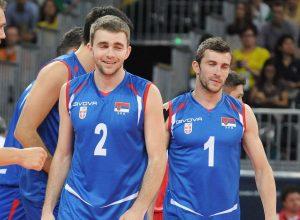 Serbia's brothers Nikola Kovacevic (right) and UrosKovacevic